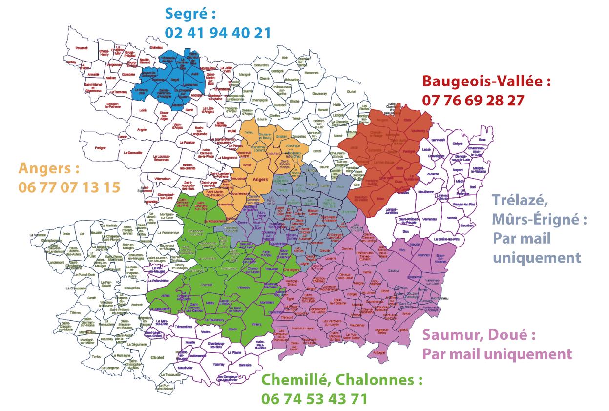 Les groupes locaux, la carte